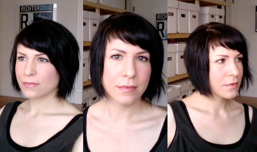 bangs cut asymmetrically was a smart choice—it works with my cowlick!