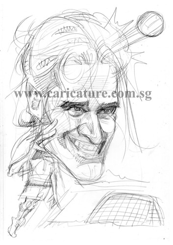 Caricature of Luca Toni pencil sketch watermark