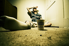 Day 343: When The Coffee Doesn't Work (Nick Today) Tags: portrait cup coffee self island foot university angle nick perspective sigma days tired sigh dining 365 exhaustion rhode today uri 10mm 365days