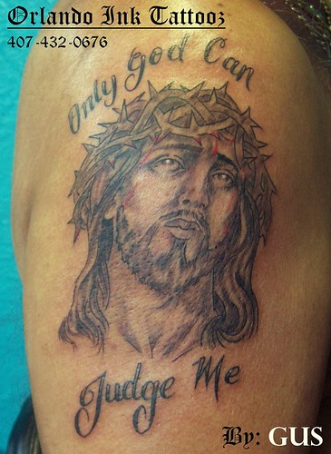 Christ head tattoo
