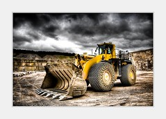 Yellow Monster at the Quarry (maapu) Tags: uk england dylan rock canon village hill russel sightseeing somerset nephew um dust build mells quarry hdr digger moster photomatix tonemapped maapu mauroof canon40d mauroofkhaleel