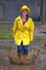 Splash (isedbell) Tags: hat mud boots splash raincoat galoshes mudpuddle fgr flickrgrouproulette playwithcamera