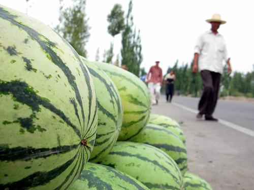 Watermelons for sale on roadside near Zhangye, Gansu Province, China
