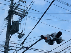 Wires and traffic-light in Kyoto