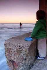 Watching (Naomi Frost - naomi takes photos) Tags: ocean boy sea sky beach water newcastle frost waves surfer watching son ethan baths naomi shovel
