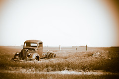 Abandoned (Mike Bingley) Tags: vacation ford abandoned field sepia truck pickup alberta prairies 2008 skiff 1939 standoff fortmacleod