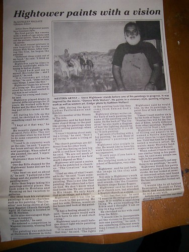 newspaper clipings of shhightower steve hightower artist tulsa oklahoma