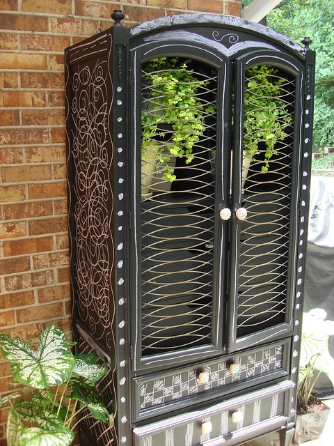 Repurposed Garden Armoire (with chalkboard paint!)