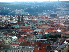 Looking over Prague from the Zizkov Television Tower