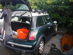 my mini cooper and gears for surfing