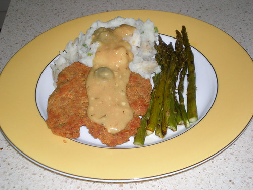 Chickpea Cutlets With Roasted Asparagus And Mashed Potatoes And Mustard Sauce