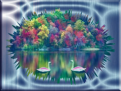 MIRROR IMAGE (fantartsy JJ *2013 year of LOVE!*) Tags: blue art fall colors photoshop reflections effects shiny pretty digitalart swans fantasy cubism artisticexpression creativephotography supershot bej fineartphotos colorphotoaward ultimateshot originaldigitalart overtheexcellence theperfectphotographer theicegallery thebestpicturegallery thebestgallery