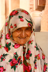 Cute old lady (yewco) Tags: portrait smile iran persia redsoil    abyanevillage