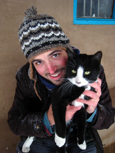 With friendly kitty