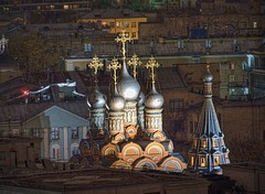 More Moscow roofs and golden crosses (maistora) Tags: city light night buildings dark gold hotel view darkness cross zoom russia moscow towers crosses testing roofs huge steeples available notperfect maistora aireahdr