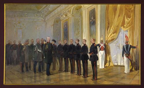002-Guardia de cosacos siberianos- presentacion al emperador Nikolai en palacio 1833