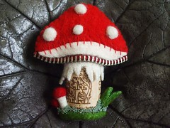 Felt Mushroom with cork stem (woolly  fabulous) Tags: red mushroom felted pin recycled cork brooch felt zipper feltbeads