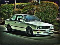 Turbo 318 (youneverknowphotography) Tags: california white 3 black cars car night speed canon honda dark concrete lights panda time 5 wing turbo nighttime bmw series 1991 kidney bushes hdr dealership 318 e30 grilles turbocharger ambers 5speed g7