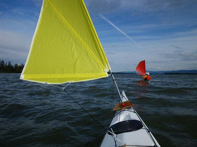 Sailing kayaks on the Columbia River