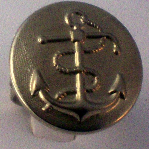 silvery sailor vintage button ring