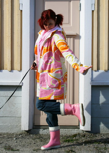 May Day coat and my pink wellies
