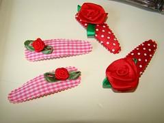 hairclips (PINKA) Tags: roses dots checks hairclips pinka