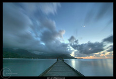 30 seconds of Night - Kauai by the Moonlight (Arnold Pouteau's) Tags: ocean longexposure sunset beach hawaii pier pacific kauai hanaleibay mywinners