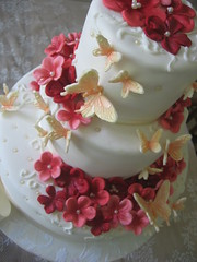 owedding! (oholysweet!) Tags: pink wedding red orange white flower cake coral butterfly chocolate raspberry apricot pearl fondant royalicing sugarpaste