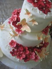 owedding! (oholysweet!) Tags: pink wedding red orange white flower cake coral butterfly chocolate raspberry apricot pearl fondant royalicing sugarpaste