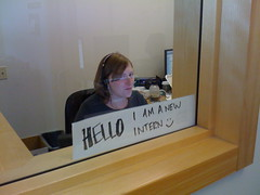 "Sign reading: ""Hello, I am a new intern"""