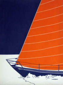 Marushka - large sailboat (orange, blue, and white)