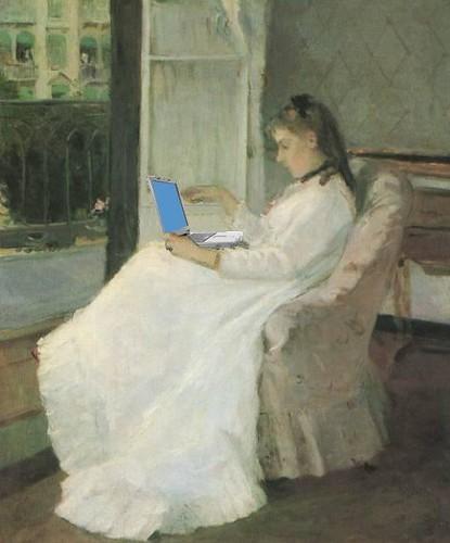 Edma Pontillon Blogging, after Berthe Morisot