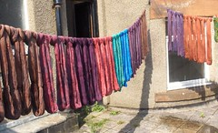 yarn drying on the terrace