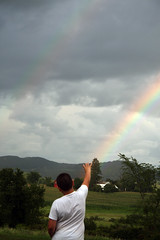 Reaching for the pot of gold? (btish2003) Tags: boy nature rain weather clouds rainbow grant upstateny hills rays sunrays beams mothernature nys adirondackmountains rainshowers trishgrant trishgrantphotography btish2003 trishleise