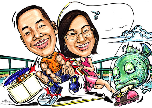 Couple caricatures roller blading & fishing at Bedok Jetty A4