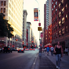 In a City Full of Colors and Life (Inside_man) Tags: sunset newyork trafficlights 120 6x6 mamiya tlr c220 film mediumformat golden colorful boulevard bokeh manhattan pedestrian sidewalk busy squareformat portravc bokehlicious inacityfullofcolorsandlife