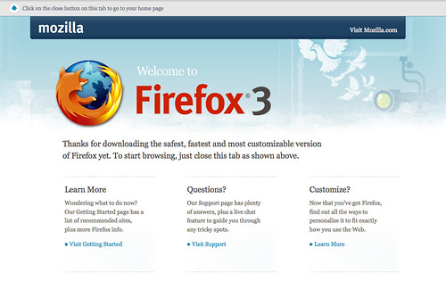 Firefox 3.0 first run page