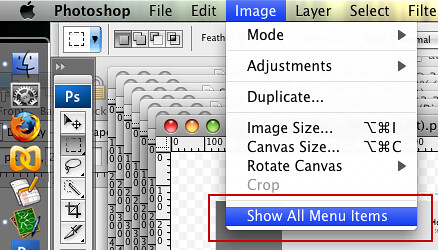 Adobe's prompt to make menu items visable
