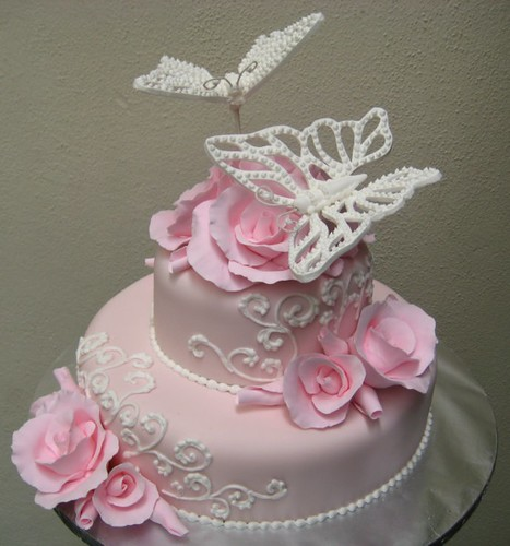 pink roses & white butterflies