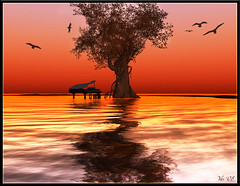 ...and the music continues (Yasmine Meads) Tags: light sunset sea sky orange colour reflection tree water birds landscape piano sl reflect secondlife shore sim chouchou nightfall yas yasmine otw mywinners thiselectricheart yasminemeads