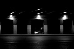 Homeless Home (Brian Hagy) Tags: street bridge blackandwhite bw white chicago black night homeless il streetshot