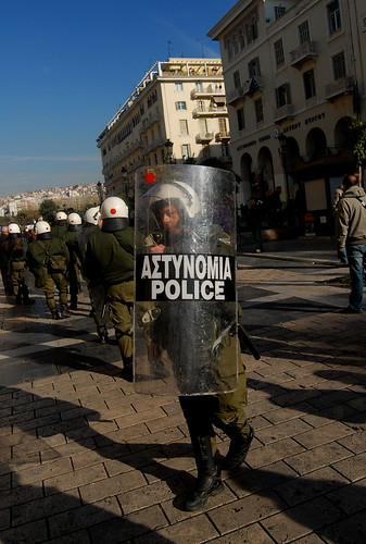 Greek riot police about to go into action against high school students in Thessaloniki