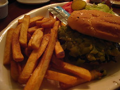 Green Chile Cheeseburger! (Boots in the Oven) Tags: chile travel vacation newmexico roadtrip cheeseburger fries nm capitan greenchile