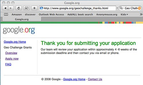 GoogleChallenge thank you screen