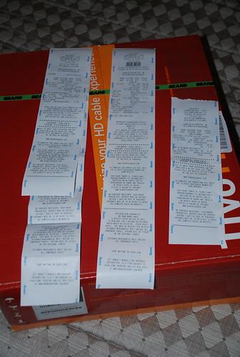 Sears receipts and TiVo HD