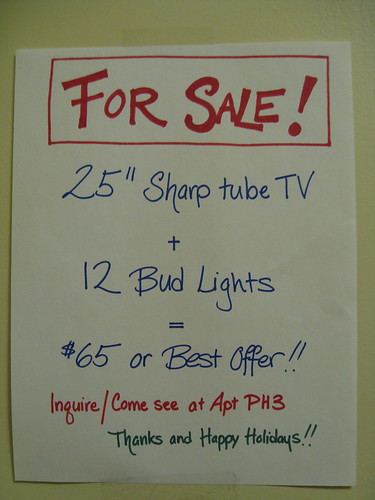 25-inch Sharp tube TV plus 12 Bud Lights