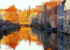 The Sun also sets on Ghent (Aster-oid) Tags: reflections belgium sunsets ghent gent gand frontpageexplore ff40 colorphotoaward