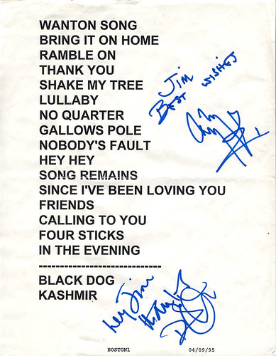 Autographed (Led Zeppelin) Page & Plant set list - 1995