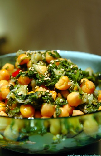 Insalata calda di ceci e spinaci