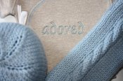 Adored Set - cabled longies, embroidered wrap shirt & knit hat  - newborn